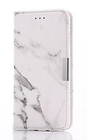 För Plånbok / Korthållare / med stativ / Lucka / Magnet fodral Heltäckande fodral Marmor Hårt PU-läder för Apple iPhone 7 Plus / iPhone 7