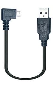 0.25m 90-Grad-Micro-USB-Stecker auf USB-Datenkabel für Samsung s3 s4 Android-Handys