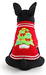 Dog Sweater Red Dog Clothes Winter Floral / Botanical Cute / Fashion / Keep Warm / Christmas