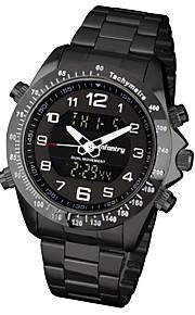 Masculino Relógio Esportivo / Relógio Militar / Relógio de Pulso Digital / Quartzo JaponêsLED / Calendário / Cronógrafo / Dois Fusos