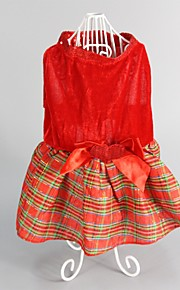 Dog Dress Red Dog Clothes Winter / Summer Plaid/Check Cute / Fashion / Keep Warm / Christmas