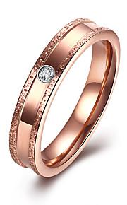Ringe Kvadratisk Zirconium Daglig Afslappet Smykker Rustfrit Stål Zirkonium Titanium Stål Dame Ring 1 Stk.,6 7 8 9 Rose Guld