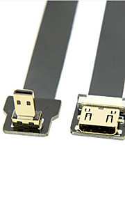 0.5M Down Angled 90 Degree FPV Micro HDMI Male to Mini HDMI Female FPC Flat Cable for Multicopter Aerial Photography