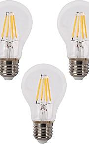 4W E26/E27 LED필라멘트 전구 A60(A19) 4 COB 400 lm 따뜻한 화이트 밝기 조절 AC 220-240 110-120 V 3개