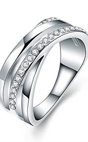 Ringe Kvadratisk Zirconium Daglig Afslappet Smykker Legering Zirkonium Sølvbelagt Dame Ring 1 Stk.,6 7 8 Sølv