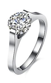 Ringe Kvadratisk Zirconium Daglig Afslappet Smykker Rustfrit Stål Zirkonium Titanium Stål Dame Ring 1 Stk.,6 7 8 9 Sølv