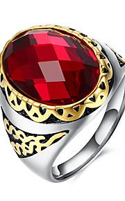 Ringe Daglig Afslappet Smykker Rustfrit Stål Titanium Stål Glas Herre Ring 1 Stk.,9 10 11 Rød