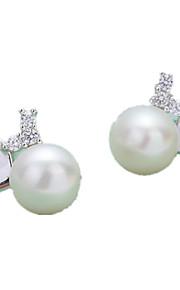 Imiteret Perle Stangøreringe Smykker Dame Daglig Afslappet Sølv Imiteret Perle 1 par Sølv