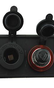 12V/24V Cigarette lighter adapter and power socket with housing holder panel for car boat truck RV