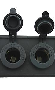 12V/24V 2PCS Cigarette lighter power adapter socket with housing holder panel for car boat truck RV