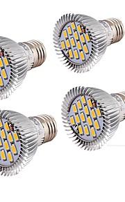 7W E26/E27 LED-spotpærer MR16 15 SMD 5630 650 lm Varm hvit Dekorativ V 4 stk.