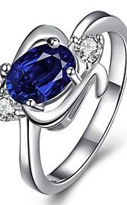Ringe Kvadratisk Zirconium Daglig Afslappet Smykker Zirkonium Plastik Sølvbelagt Glas Dame Ring 1 Stk.,7 8 Gylden Blå