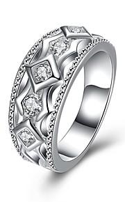 Ringe Daglig Afslappet Smykker Zirkonium Plastik Sølvbelagt Ring 1 Stk.,7 8 Sølv
