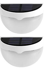 2stk solens lys vanntett IP55 6 ledet solenergi lampe utendørs belysning vegglamper for hjem dekorasjon varm hvit