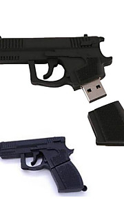 16GB Stylish Gun Shaped U Disk Silicon USB Flash Drive Memory  Black
