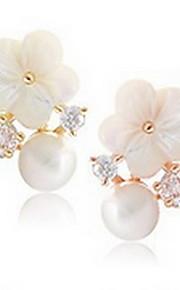 Perle Lyserød Blomstformet Stangøreringe Smykker Natur Daglig Sølv 1 par Hvid