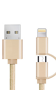 USB 2.0 All-in-1 Kręcone Kable Na Apple iPhone iPad Samsung Sony HTC Lenovo Xiaomi 98 cm Nylon Aluminum