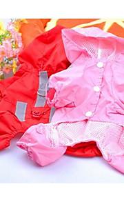 Perros Impermeable Rojo Rosado Ropa para Perro Primavera/Otoño Un Color Deportes