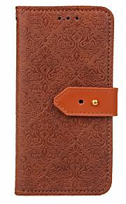 För Korthållare med stativ Lucka Läderplastik fodral Heltäckande fodral Blomma Hårt PU-läder för AppleiPhone 7 Plus iPhone 7 iPhone 6s