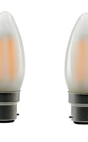 B22 E26/E27 LED필라멘트 전구 CA35 4 COB 400 lm 따뜻한 화이트 밝기 조절 V 2개