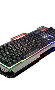 USB teclado para juegos teclado ergonómico teclado multimedia USB retroiluminación de color multi #