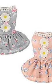 개 드레스 강아지 의류 여름 꽃장식 귀여운 캐쥬얼/데일리 그레이 핑크