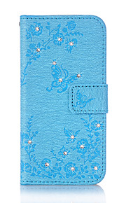 For Samsung Galaxy A3 (2016) A5 (2016) Case Cover Butterfly Love Flowers Pattern Embossed Point Drill PU Material Phone Case