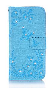 Til Lommebok Kortholder Rhinstein med stativ Flipp Inngravert Mønster Magnetisk Etui Heldekkende Etui Sommerfugl Hard PU-lær til Samsung
