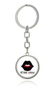 Key Chain Circular Key Chain Red Black Metal