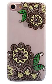 För Strass Självlysande Frostat Genomskinlig Mönster fodral Skal fodral Spetsdesign Blomma Mjukt TPU för AppleiPhone 7 Plus iPhone 7