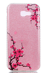 For Samsung Galaxy A3(2017) A5(2017) Double IMD Case Back Cover Case Diagonal plum flower pattern Soft TPU A7(2017)