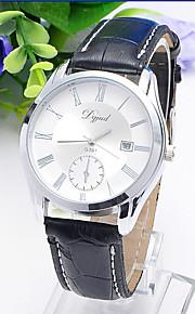 Masculino Mulheres Relógio de Moda Quartzo Couro Banda Casual Preta Branco Preto