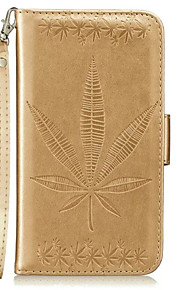 For Apple iPhone 7 7 Plus 6S 6 Plus SE 5S 5 Case Cover Maple Leaf Embossed Pattern PU Skin Material Card Stent Lanyard Phone Case