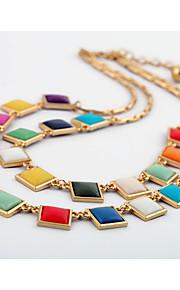 Dame Halskæder med flere lag Firkantet form Unikt design Euro-Amerikansk Regnbue Smykker For Daglig Julegaver 1 Stk.