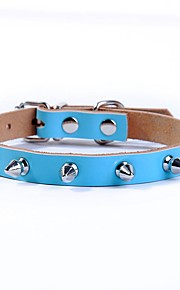 Leather Solid Color Dog Collar for Small and Medium Dogs Pink Red Coffee Black Blue