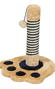 Brinquedo Para Gato Brinquedos para Animais Interativo Durável Tapete de Arranhar Madeira Felpudo Bege