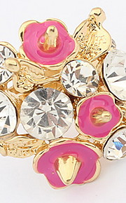 Euramerican Friendship Luxury Elegant  Rhinestone Flower Lady Gift Jewelry Cuff  Ring