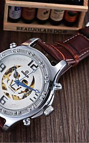 Męskie Modny zegarek mechaniczny Nakręcanie automatyczne Skóra Pasmo Czarny Brązowy