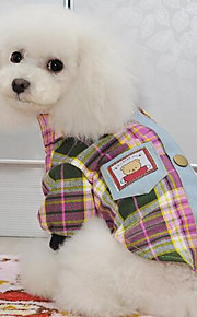 Собаки Футболка Одежда для собак Весна/осень В клетку Милые Мода На каждый день Желтый Розовый Светло-Зеленый