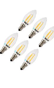 4W E14 LED-kornpærer C35 4 COB 377 lm Varm hvit Kjølig hvit Dimbar AC220 V 6 stk.
