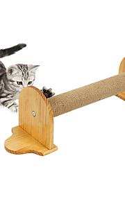 猫用おもちゃ ペット用おもちゃ インタラクティブ 耐用的 スクラッチマット ウッド ベージュ
