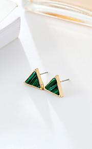 Dame Stangøreringe Smaragd Mode minimalistisk stil Smaragd Legering Rund form Trekantet Smykker Til Bryllup Fest & Aften Fest/aften