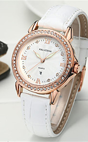 Mulheres Relógio de Moda Japanês Quartzo Calendário Impermeável Couro Banda Brilhante Preta Branco Vermelho Marrom