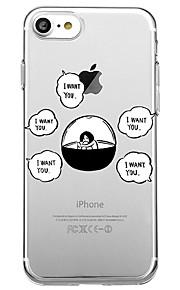 Voor iphone 7 plus 7 case cover milieuvriendelijke cartoon transparante patroon achterhoes case cartoon woord / zin soft tpu voor iphone
