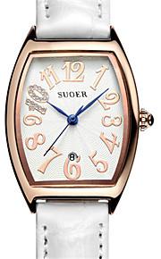 Mulheres Relógio de Moda Quartzo Digital Impermeável Couro Banda Branco