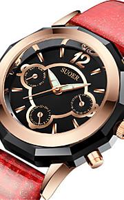 Mulheres Relógio de Moda Quartzo Digital Impermeável Couro Banda Preta Branco Vermelho Marrom Azul Marinho