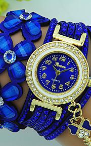 여성용 팔찌 시계 석영 라인석 가죽 밴드 꽃패턴 보헤미안 블랙 블루 레드 브라운