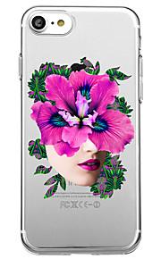 Voor iphone 7 plus 7 case cover transparant patroon achterkant hoesje sexy dame bloem zachte tpu voor iphone 6s plus 6s 6 plus 6 5s 5 se