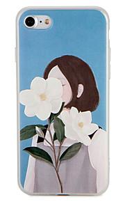 Geval voor apple iphone 7 plus 7 cover patroon achterkant hoesje sexy dame bloem zachte tpu 6s plus 6 plus 6s 6