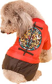 Perro Mono Ropa para Perro Año Nuevo Geométrico Amarillo Rojo